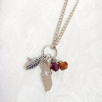 Silver FSU Florida State University charm necklace - Antiqued silver feather, state of Florida charm with garnet colored Swarovski crystal
