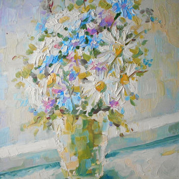 Spring Field Flowers Bouquet in Vase Still Life Oil Painting Impasto Russian Artist Artwork Wall Decor Impressionism Modern Art Picture
