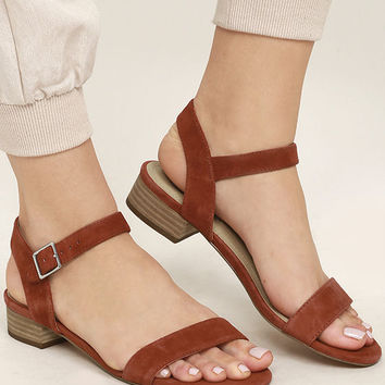 Steve Madden Cache Rust Suede Leather Heeled Sandals