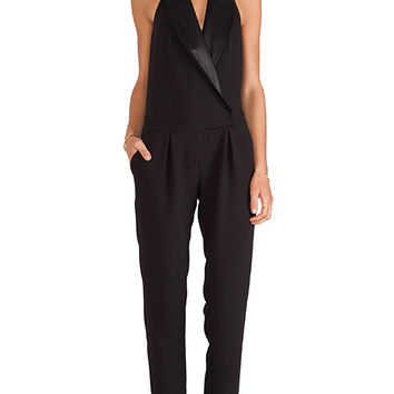 BCBGeneration Tuxedo Halter Jumpsuit in Black