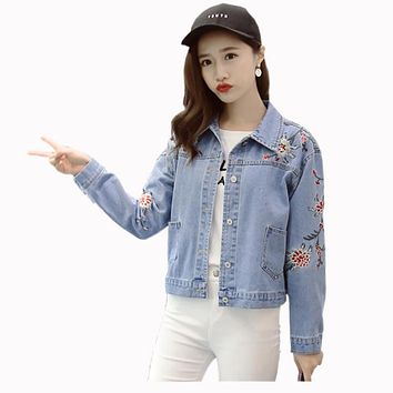 Winter Spring 2017 Women Floral Embroidered Bomber Jacket Vintage Harajuku Jeans Jackets Denim Coat Women Clothing Chaquetas