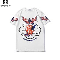 Givenchy Summer Popular Women Men Personality Print Round Collar T-Shirt Top White