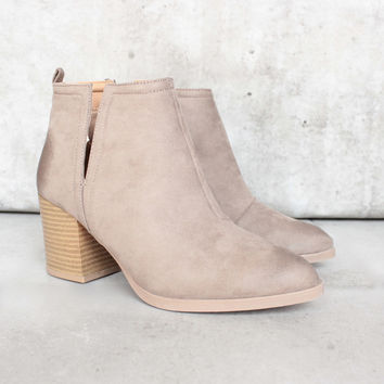 side slit chelsea ankle booties - taupe