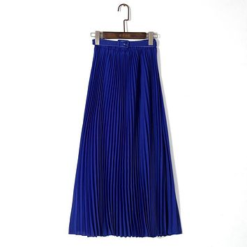 Long Pleated Skirts Womens 2017 Bohemia Style Summer Skirt Ladies Elegant High Waist Maxi Chiffon Skirt Faldas Largas Jupe Femme