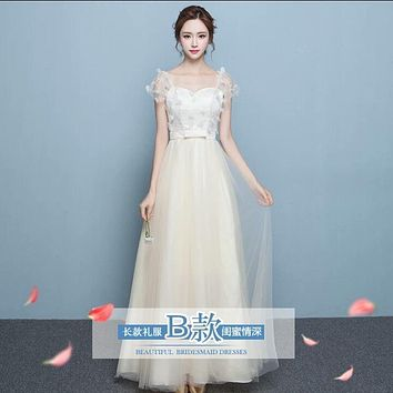 Transparent Short Sleeves Flowers Tulle Empire Long Party Bridesmaid Dress