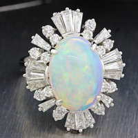 1980s Vintage 14k Solid White Gold Opal 2ctw Baguette Diamond Cocktail Ring