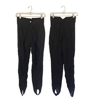 Vintage Ski Pants Stirrup Head Sportswear Black Size 0 Petite Clothing High Waisted Pants Tight Retro Winter Snow Women Activewear Ladies