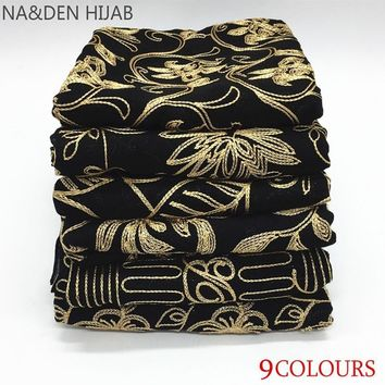 2018 high - end black silk thread embroidery women's cotton and linen scarf solid islamic hijab scarf women pashmina bandana