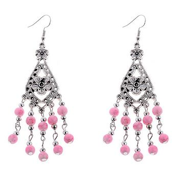 Pink and Silver Beaded Flower Dangle Earrings