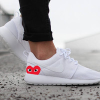 Nike Roshe Run White with CDG Heart Paint