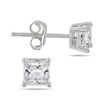 1/3 Carat Princess Diamond Solitaire Earrings in .925 Sterling Silver