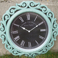 "Mint Green, Extra Large, 23"" Wide, Cottage Shabby Chic, Ornate, French Ornate, Baroque Wall Clock"