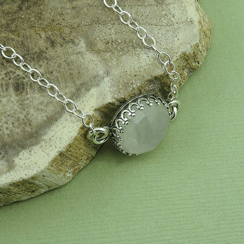 LARGE Moonstone Bracelet - sterling silver bezel set moonstone bracelet, gemstone