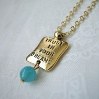 Gold Message Charm Necklace with Blue Quartz Gemstone Bead Dangle 16""