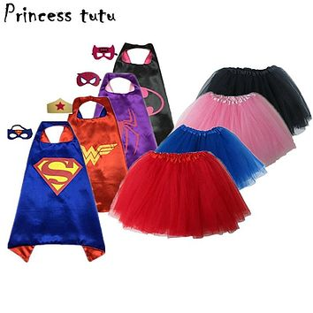 PRINCESS TUTU 15 Color Kids Superhero Supergirl Costumes Boys Girls Skirts Capes with Masks Party Favor Dress Up Cosplay kc021