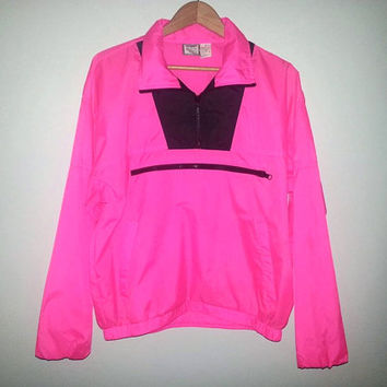 90s Vintage WINDBREAKER Neon PINK Hot Pink Activewear Outerwear Lightweight Saved By The Bell Hipster Surfer Soft Grunge Size Medium