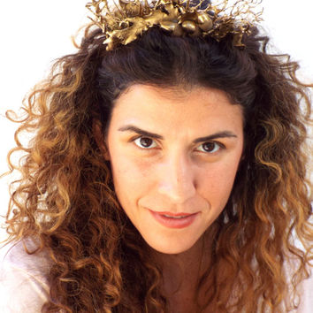Gold Crown, Woodland Headband, Golden leaves Headpiece,  Greek Goddess, Flower crown, Woodland Hair Wreath