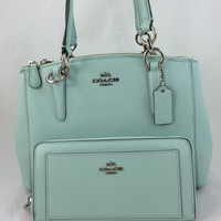 New Authentic Coach F36704 Mini Christie Crossgrain Leather Carryall Satchel Shoulder Bag in Seaglass Green +Wallet Set