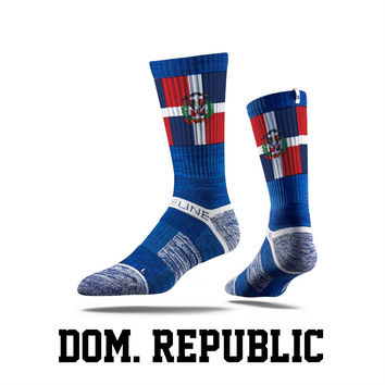 Strideline® S Collection, Dominican Republic Flag Crew Socks NEW