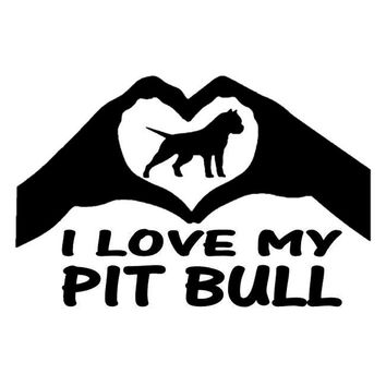 14.9cm*9.8cm I Love My Pit Bull Animal Dog Car Styling Decor Vinyl Car Sticker S4-0158