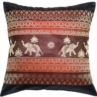 Avarada Print Elephant Sun Throw Pillow Cover Decorative Sofa Couch Cushion Cover Zipper 16 x 16 Inchs (40x40 cm) Black Red