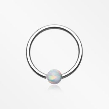 Fire Opal Basic Bendable Twist Hoop Ring