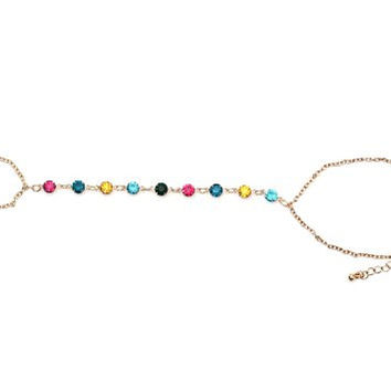 Rainbow Crystals Handpiece Chain Ring Bracelet BB03 Exotic Gold Tone Bangle Fashion Jewelry
