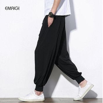 China Style Male Loose Casual Pants Solid Color Men Wide Leg Kongfu Trousers Jogger Sweatpant