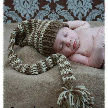 Newborn Elf Hat Photo Prop Neutral Colors 0-6 m. 6-12 m.