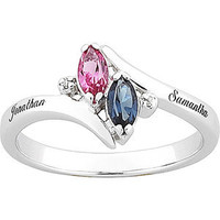 Walmart: Sterling Silver Couple's Marquise Birthstone Name Ring with Diamond Accent