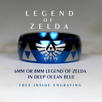 Top Quality Tungsten Wedding Ring, Deep Ocean Blue, 8mm Or 6mm Dome Legend of Zelda Design