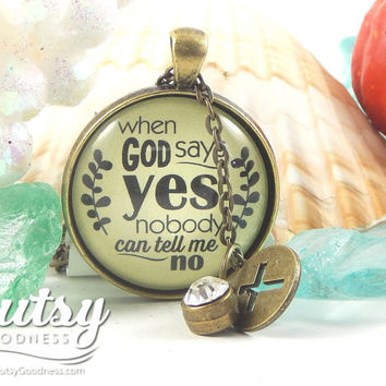 When God Says Yes Strong Woman God Necklace because Nothing is Impossible, Gift for New Job, Missionary Gift, Hope