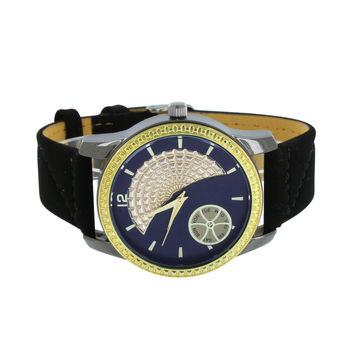 Gold Finish Bezel Watch Black Strap Water Resist Blue Dial Ice Mania