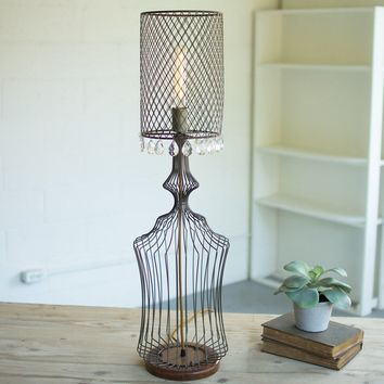 Wire Table Lamp w/metal Mesh Shade & Glass Gems ~ Small