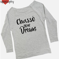 Dance Raglan Shirt, Chasse Your Dreams, Terry Edge Raglan, Gray Raglan Shirt, Dance Raglan, Dance Teacher, Dance Shirt, Dance Tank, Dreams