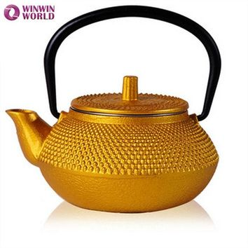 DCCKJG2 50ml Mini water cast iron teapot Small Pot 5 style Christmas Gift for friends Japannese old tea pot Gold color WW-MT014