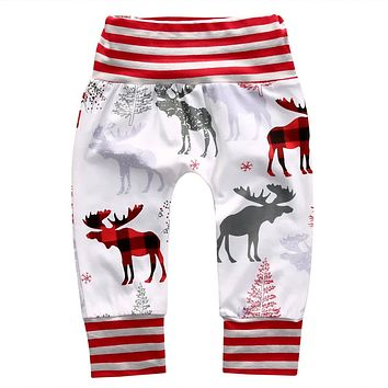 Pudcoco 6-24M Christmas Family Matching Pants Deer Kids Baby Trousers X-Mas Reindeer Leggings