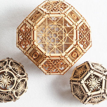 Three Wood Orbs, Home Decor, Geometric Ornaments, Laser Cut, Architectural