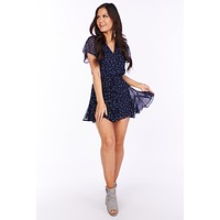 Lovely In Paris Printed Romper (Navy/Multi)