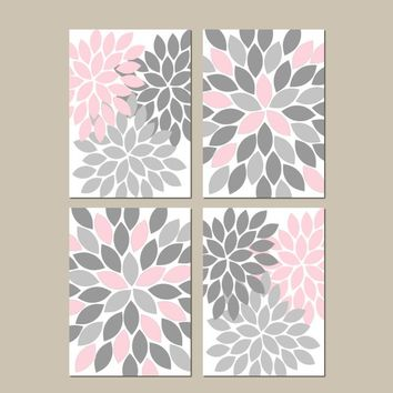 PINK GRAY Nursery Wall Art, CANVAS or Prints, Bedroom Pictures, Bathroom Decor, Flower Wall Art, Home Decor, Flower Petals, Set of 4