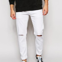 ASOS | ASOS Stretch Slim Jeans In White With Knee Rips at ASOS