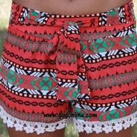 No Ordinary Girl Red Aztec Shorts