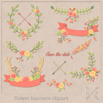 Hand drawn flower banners digital clipart set 2 wreath laurel garland leafs feather ribbon antler logo design scrapbook wedding invites