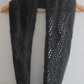 Lace Knit Scarf - Black Scarf - Knit Infinity Scarf - Eco Friendly Knit - Hand Knitted Scarf - Made in Canada - Circle Scarf - Knit Cowl