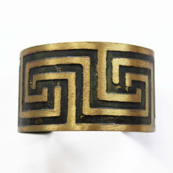 Greek Key Brass Cuff - Gold and Black Cuff Bracelet - Wide Brass Cuff Bracelet