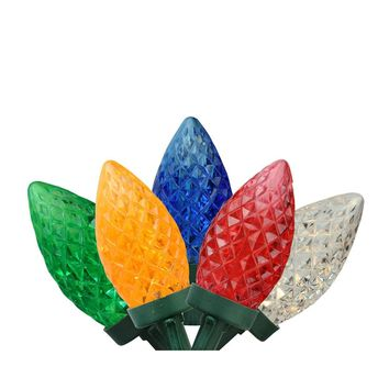 """100 Commercial Length Multi-Color LED Faceted C9 Christmas Lights on Spool 5"""" Spacing - Green Wire"""