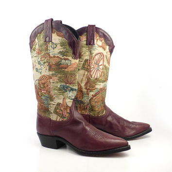 Vintage Cowboy Boots 1980s Dan Post Burgundy Tapestry Leather Women's  size 7 1/2 M