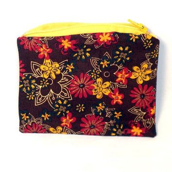 Change Purse Zipper Pouch Brown Paisley by redmorningstudios