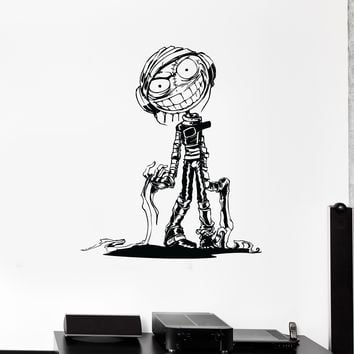 Wall Decal Zombie Mummy Crazy Monster Headphones Vinyl Sticker Unique Gift (ed566)