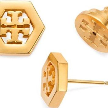 Tory Burch Hex-Logo Stud Earrings 16k Gold Tone